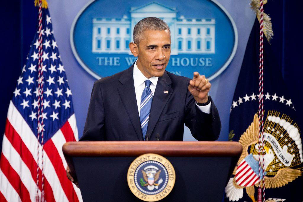 President Barack Obama speaks in the White House briefing room on Thursday, regarding the Supreme Court decision on immigration. (AP Photo/Andrew Harnik)