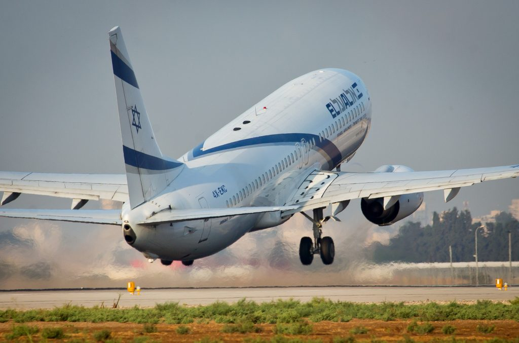 An El Al plane taking off at  Ben Gurion Airport. (Moshe Shai/Flash90)
