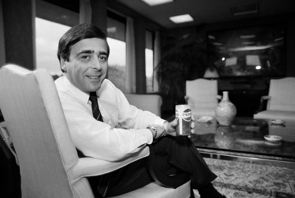 Roger Enrico, chairman of Pepsi USA, poses in 1984 in his office in Purchase, N.Y. (G. Paul Burnett/AP Photo)