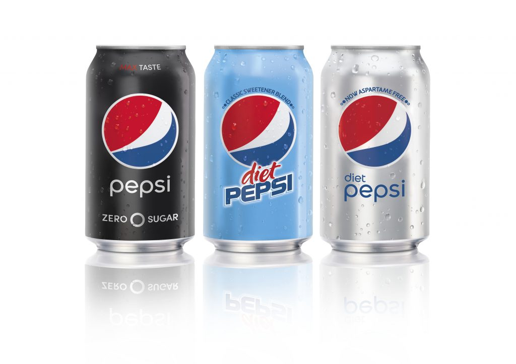 From left: Pepsi Zero Sugar, Diet Pepsi Classic Sweetener Blend and Diet Pepsi. (PepsiCo via AP)