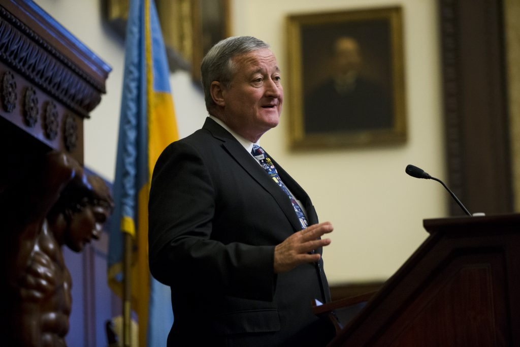 Philadelphia Mayor Jim Kenney speaks during a news conference at City Hall on Thursday. (AP Photo/Matt Rourke)