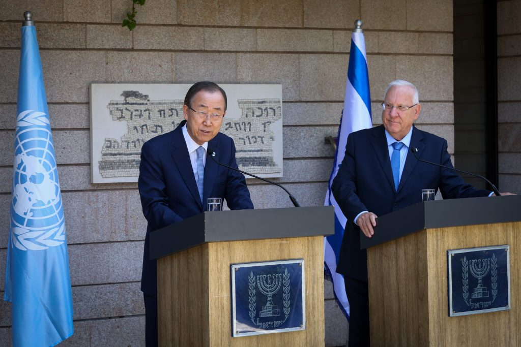 United Nations Secretary-General Ban Ki-moon holds a joint press conference with Israeli President Reuven Rivlin at the president's residence in Yerushalayim on Monday. (Shlomi Cohen/Flash90)