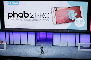 Jeff Meredith, general manager and vice president of Android Chrome, talks about the Phab2 Pro phone during the keynote address at Lenovo Tech World event in San Francisco on Thursday. (AP Photo/Eric Risberg)