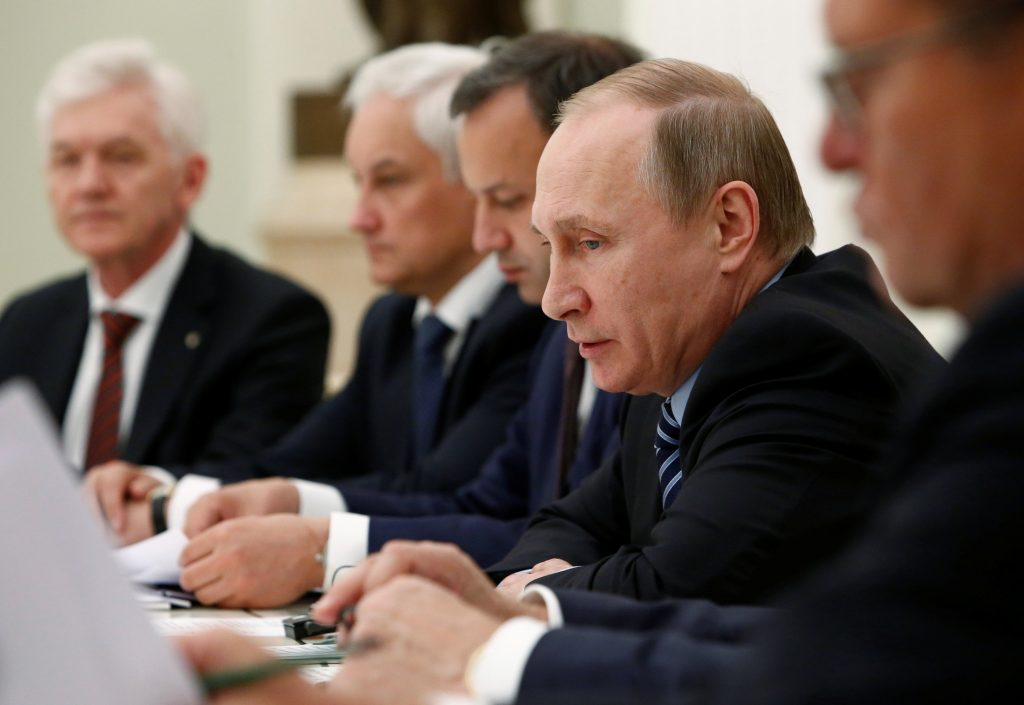 Russian President Vladimir Putin at a meeting with French businessmen at the Kremlin in Moscow last week. (Reuters/Sergei Karpukhin)