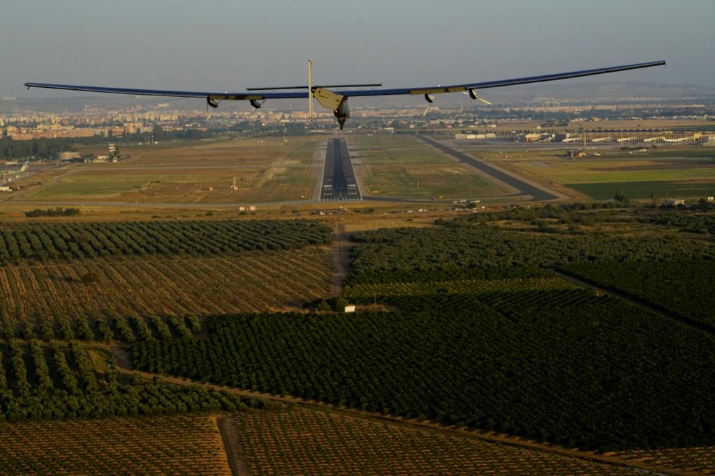 Solar Impulse 2, the solar powered airplane, piloted by Swiss pioneer Bertrand Piccard prepares to land in Seville, Spain, after finishing a 70 hours flight over the Atlantic ocean, June 23, 2016. Jean Revillard/SI2/Handout via Reuters ATTENTION EDITORS - THIS IMAGE WAS PROVIDED BY A THIRD PARTY. FOR EDITORIAL USE ONLY. NO RESALES. NO ARCHIVES