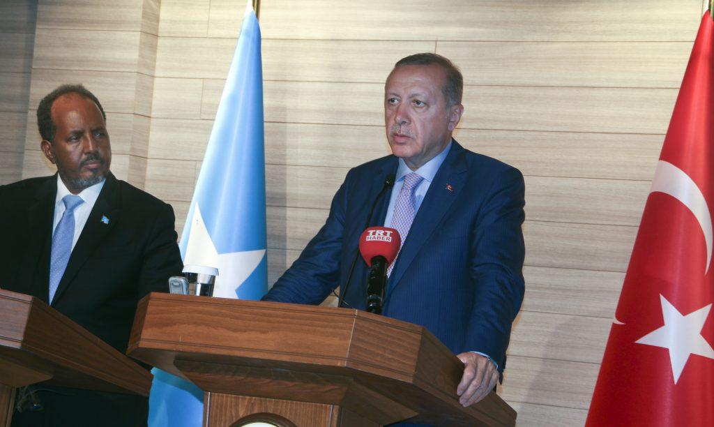 Turkey's President Recep Tayyip Erdogan, right, withSomalia's President Hassan Sheikh Mohamud at the new Turkish embassy in Mogadishu, Somalia, on Friday. (AP Photo/Farah Abdi Warsameh)