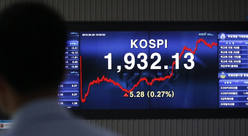 A man looks at the screen showing the Korea Composite Stock Price Index (KOSPI) at the Korea Exchange in Seoul, South Korea, Tuesday, June 28, 2016. Most Asian stock benchmarks rebounded from early losses Tuesday as investors started shaking off the jitters from Britain's vote to quit the European Union and its messy aftermath. (AP Photo/Lee Jin-man)