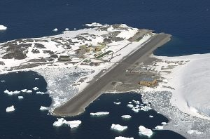 The British Antarctic Survey station is seen from the air. (British Antarctic Survey via AP)