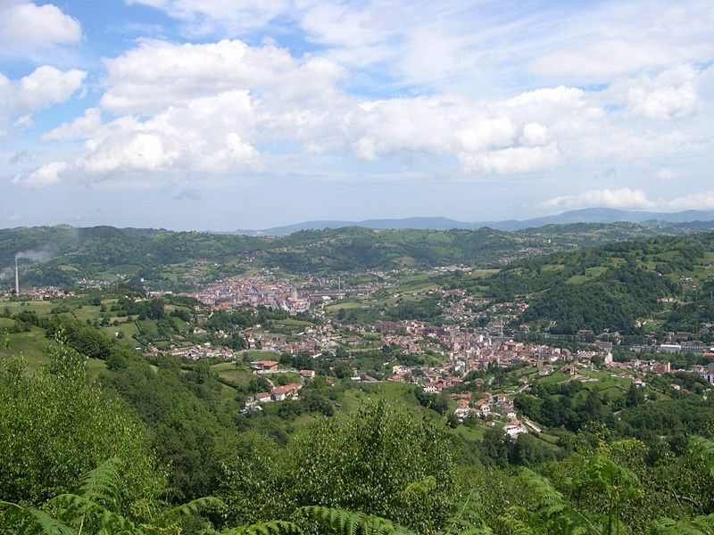 The city of Langreo in the Nalón Valley, northern Spain.