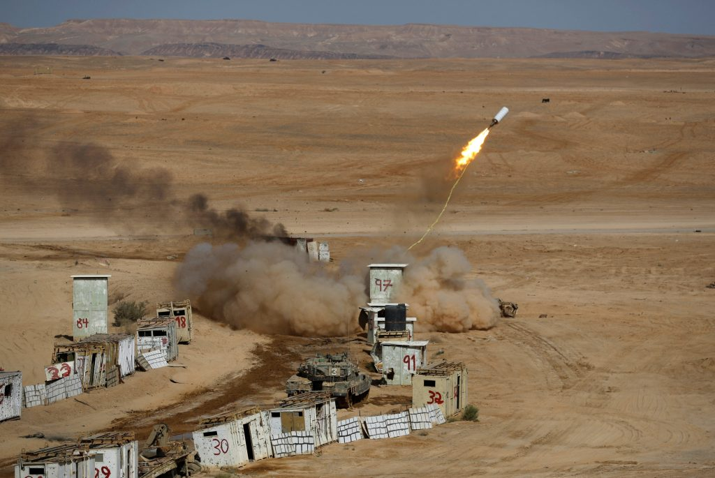 A mine-clearing line charge is fired during an Israeli military combined forces drill in Shizafon base, near Eilat, on Tuesday. (Reuters/Amir Cohen)