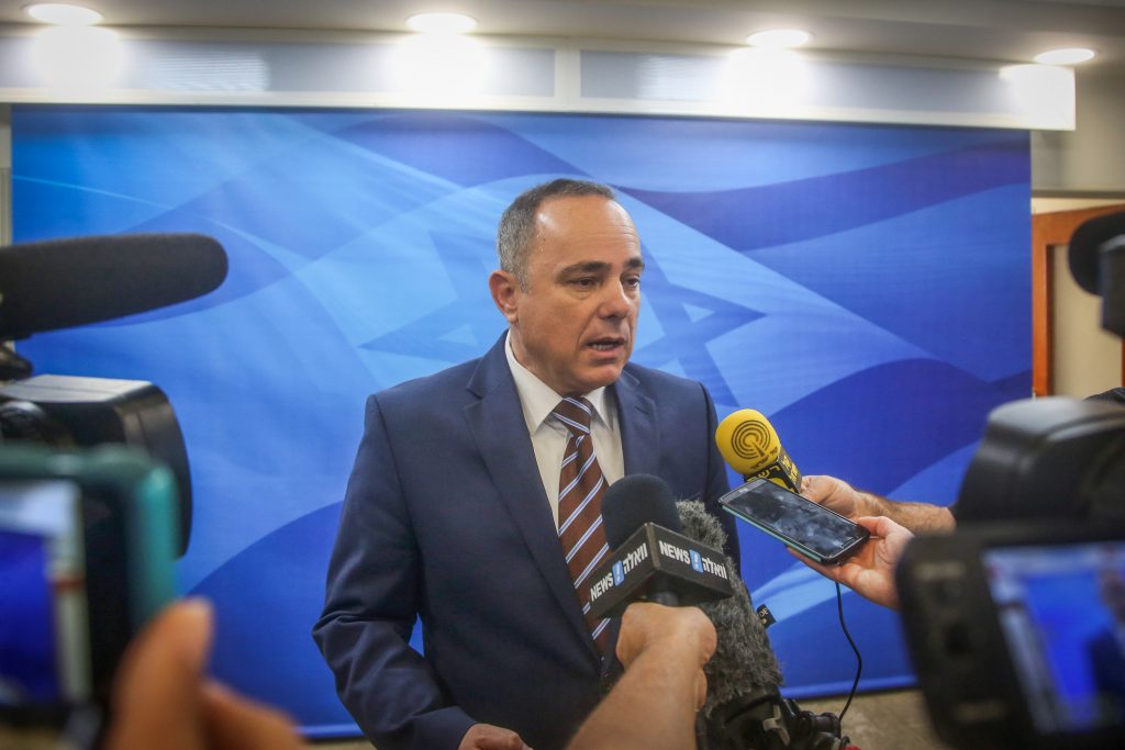 Marc Israel Sellem/POOL Minister of National Infrastructures, Energy and Water Resources Yuval Steinitz speaking with the press. (Marc Israel Sellem/POOL)