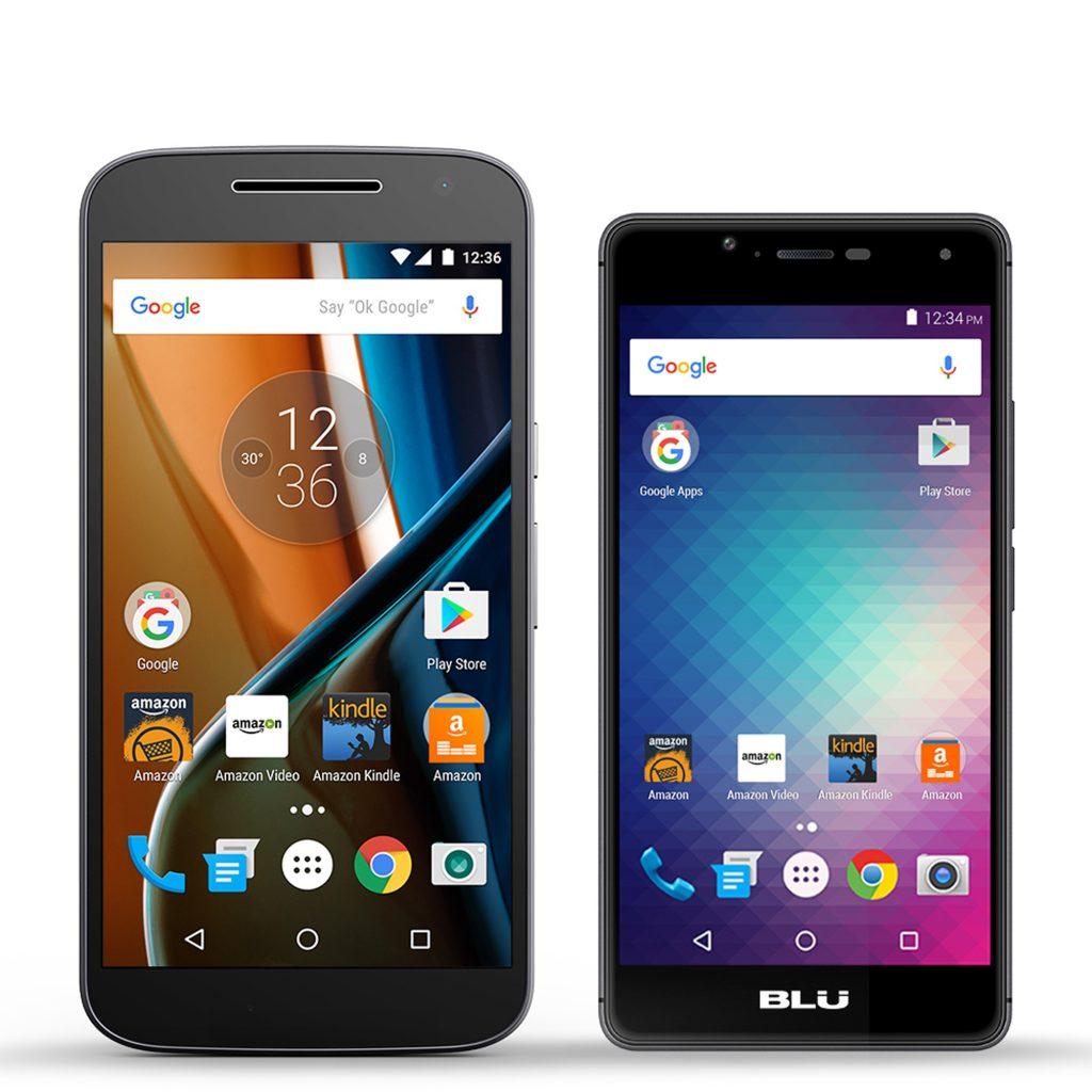 The Motorola's Moto G, left, and the Blu R1 HD. (Amazon via AP)