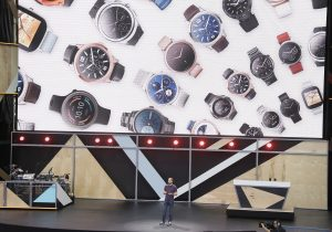 David Singleton, Google vice president of engineering, talks about updates to Android Wear during the keynote address of the Google I/O conference in Mountain View, Calif., on May 18, 2016. (AP Photo/Eric Risberg, File)