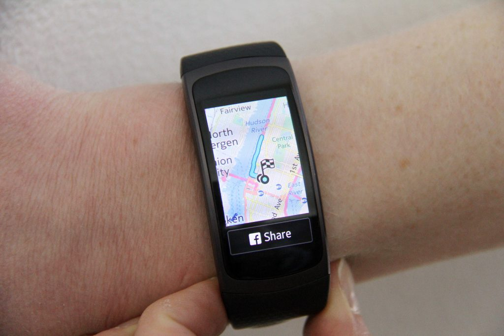 The Fit2 has GPS tracking and records your running route on a map, in addition to providing distance and pace information during workouts. (AP Photo/Anick Jesdanun)