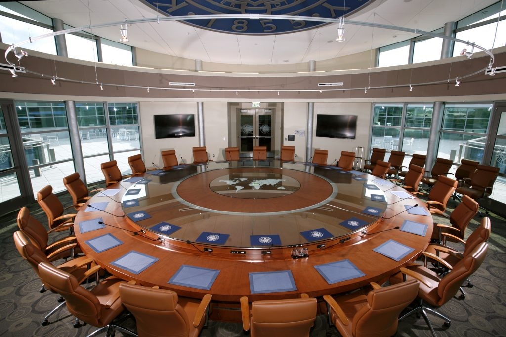 The $250,000 custom-built, multimedia conference table bought by Kean University. (Kean University)