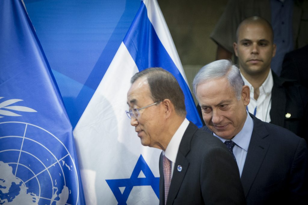 United Nations Secretary-General Ban Ki-moon and Israeli Prime Minister Binyamin Netanyahu hold a joint press conference at the Prime Minister's Office in Yerushalayim on Tuesday. (Yonatan Sindel/Flash90)