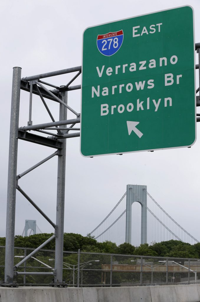 A road sign indicating an entrance to the Verrazano-Narrows Bridge is seen in New York, Wednesday. (AP Photo/Seth Wenig)
