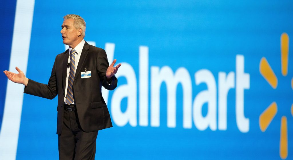 Greg Foran, chief executive officer and president of Wal-Mart U.S., talks on stage during the annual Wal-Mart shareholders' meeting, in Fayetteville, Ark., on Friday. (Jason Ivester/The Arkansas Democrat-Gazette via AP)