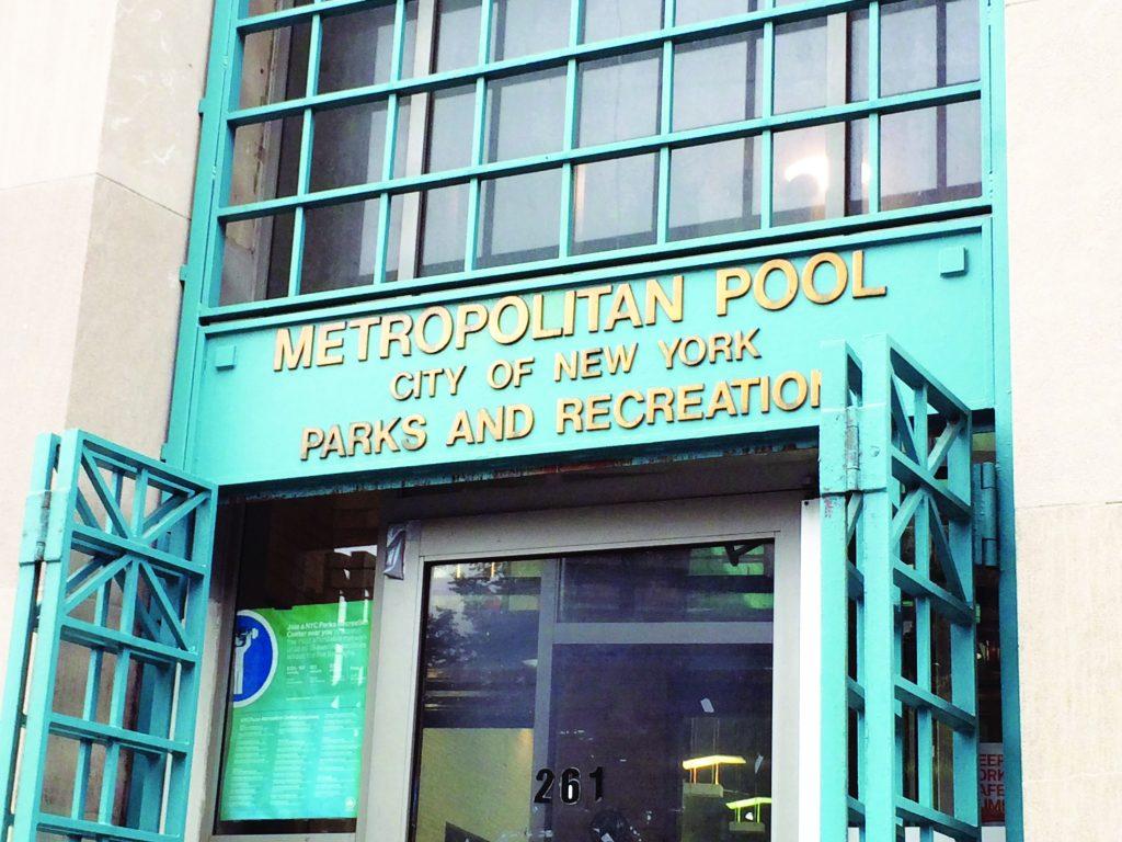 The doors are open at the Metropolitan Pool in Williamsburg, Brooklyn, Monday, June 6. (AP Photo/Rachelle Blidner)