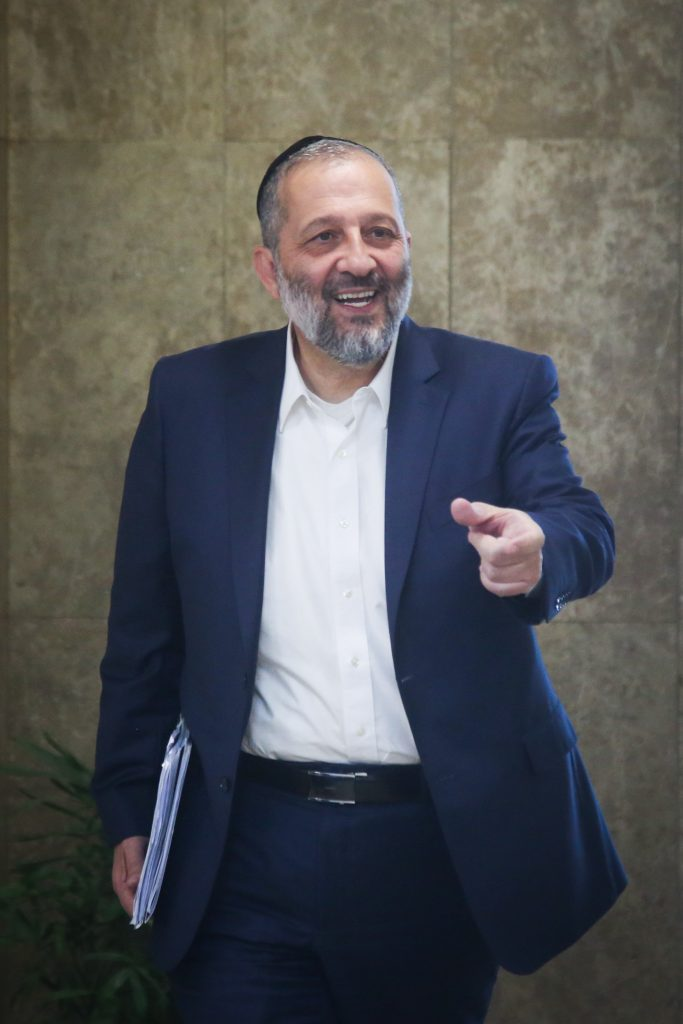 Minister of the Interior Rabbi Aryeh Deri of Shas. (Marc Israel Sellem/POOL)