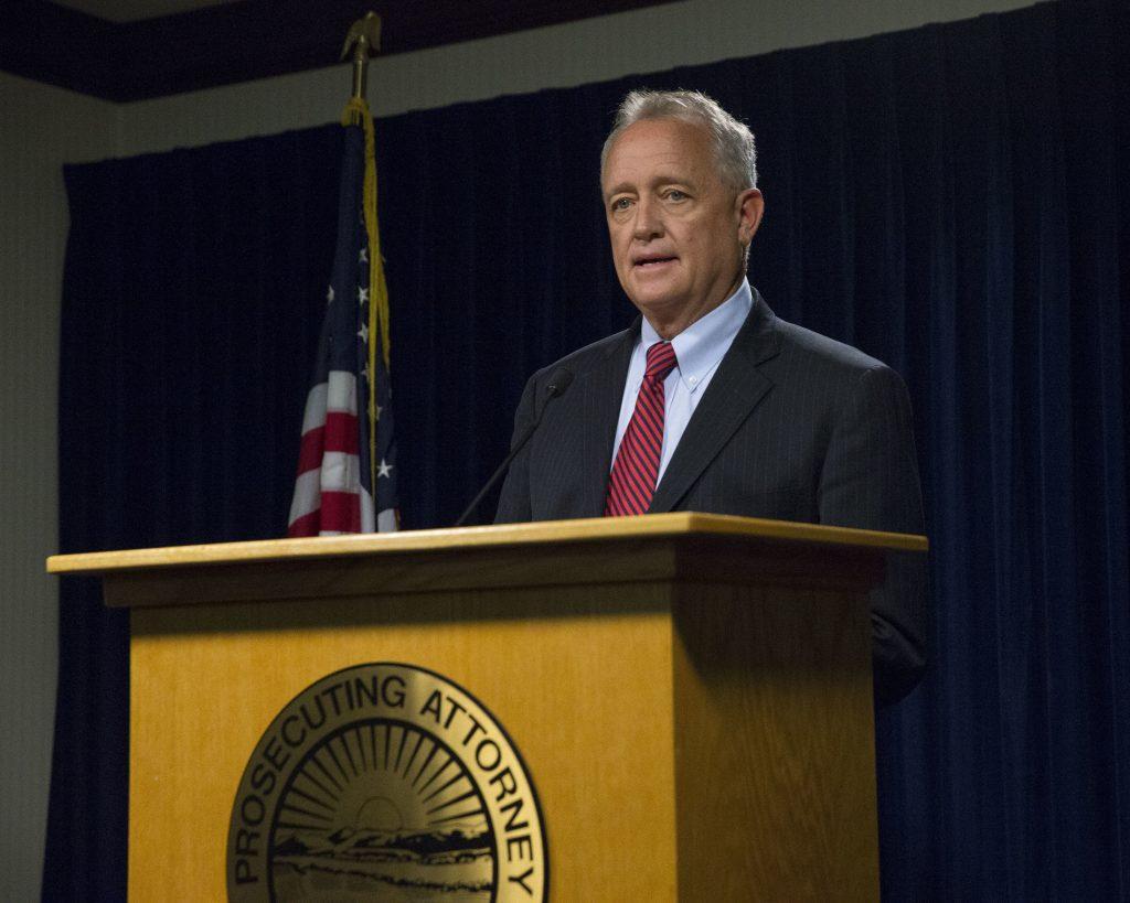 Hamilton County Prosecutor Joe Deters at a press conference on Monday in Cincinnati. (AP Photo/John Minchillo)
