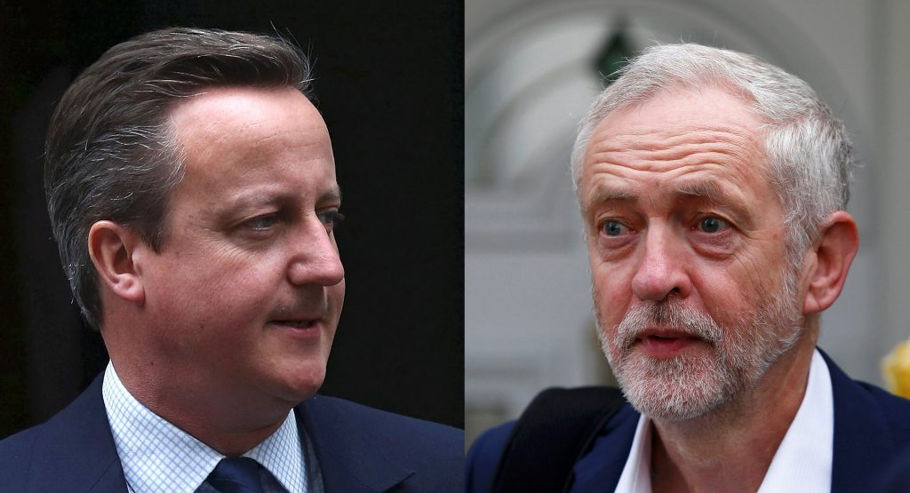 This composite photo shows U.K. Prime Minister David Cameron (L) leaving Number 10 Downing Street to attend Prime Minister's Questions at Parliament, and opposition leader Jeremy Corbyn leaving his home, in London, on Wednesday. (Reuters/Neil Hall)