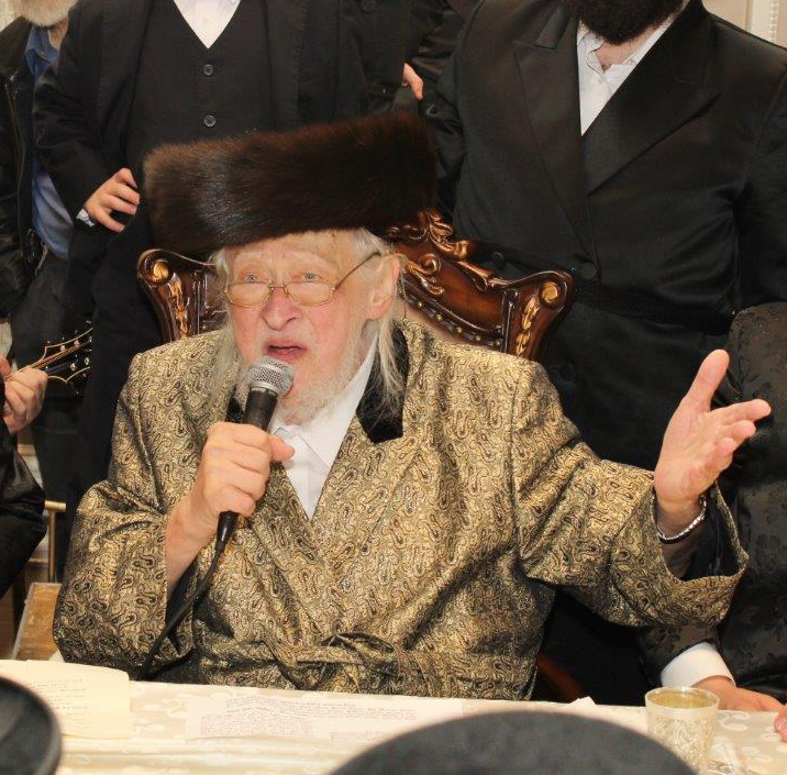 "The Bostoner Rebbe, zt""l, at a family simchah. (JDN)"