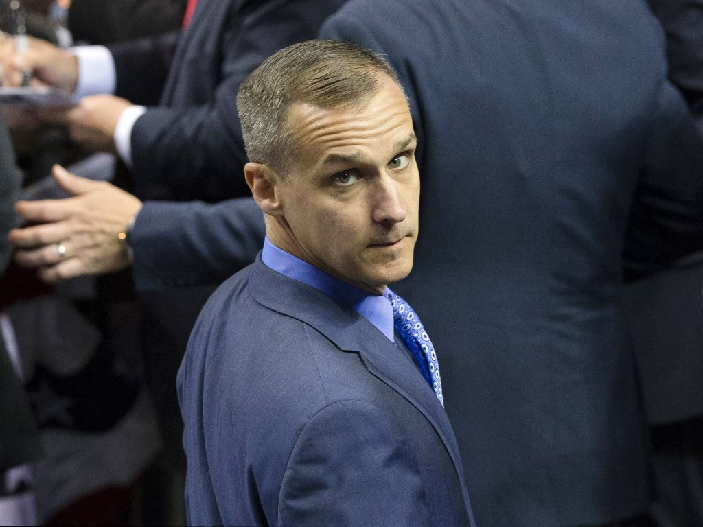 FILE - In this April 18, 2016 file photo, Corey Lewandowski, campaign manager for Republican presidential candidate Donald Trump, appears at a campaign stop at the First Niagara Center in Buffalo, N.Y. CNN has hired Lewandowski as a commentator on the campaign, only days after he was fired by Trump.  (AP Photo/John Minchillo, File)