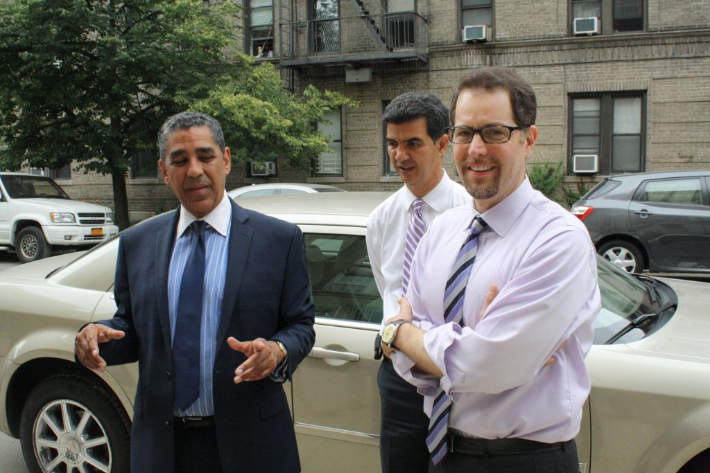 State Sen. Adriano Espaillat with Councilmen Ydanis Rodriguez and Mark Levine at a 2014 event. (The Observer)