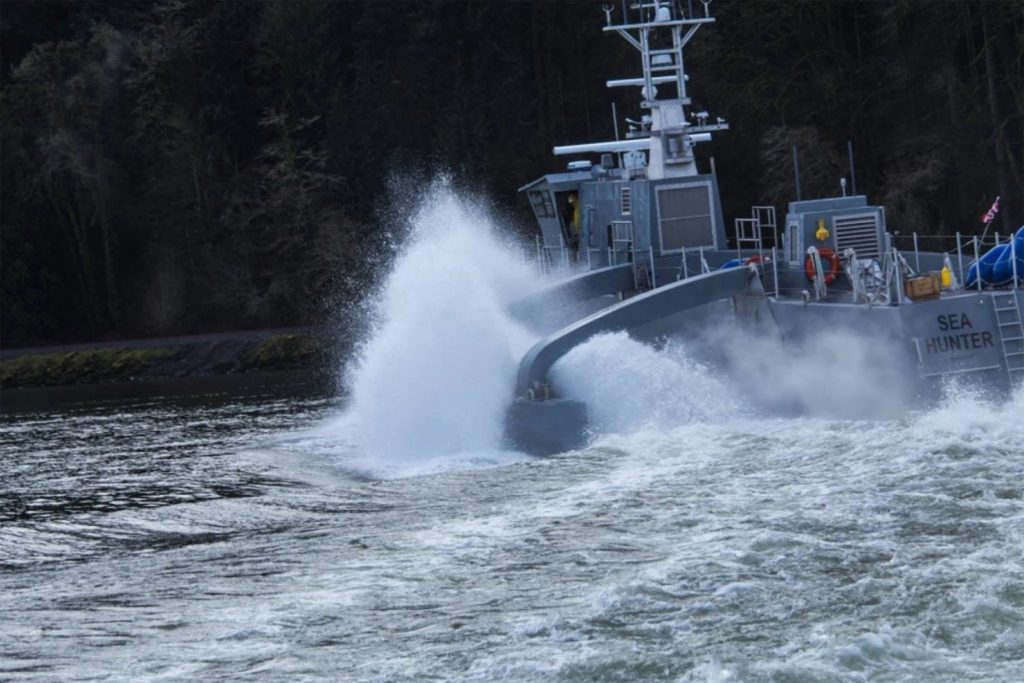 The Sea Hunter, which is designed to be used as an unmanned vessel, is shown here during testing. (Screen grab photo from DARPA video)