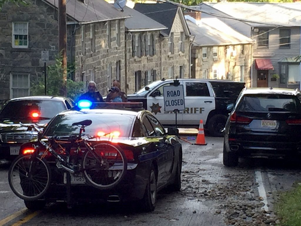 Police block access to Ellicott City, Maryland, after overnight flooding. (Astrid Riecken/The Washington Post)