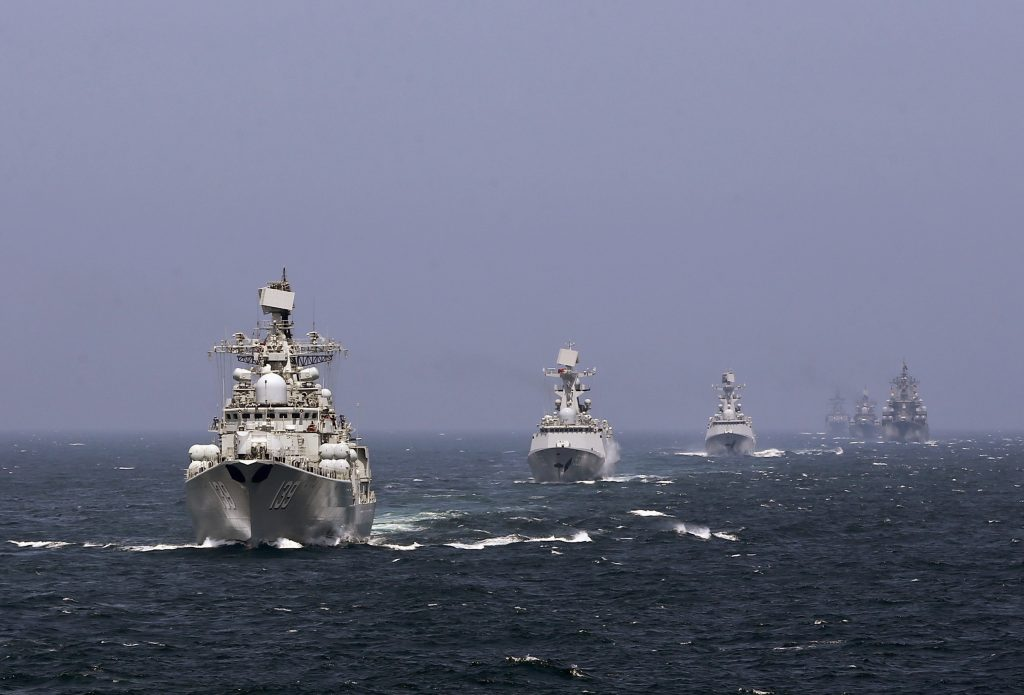 Chinese and Russian naval vessels participate in the Joint Sea-2014 naval drill outside Shanghai on the East China Sea, May 24, 2014. (China Daily/Reuters/File Photo)
