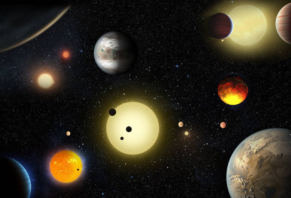This artist's concept depicts select planetary discoveries made to date by NASA's Kepler space telescope. (W. Stenzel/NASA)