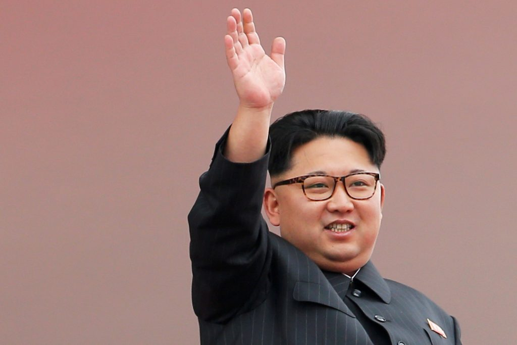North Korean leader Kim Jong Un waves to the crowd as he presides over a mass rally and parade in the capital's main ceremonial square, in Pyongyang, North Korea, on May 10. (Reuters/Damir Sagolj/File Photo)