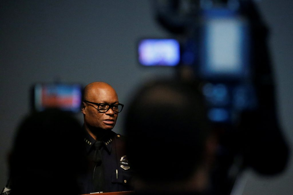 Dallas Police Chief David Brown speaks at a news conference on Monday. (Reuters/Carlo Allegri)