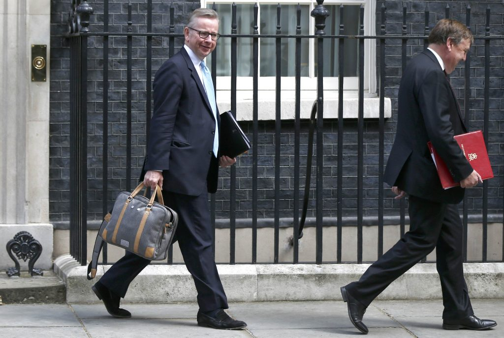 Britain's Justice Secretary Michael Gove (L) and Culture Secretary John Whittingdale leave after a cabinet meeting at number 10 Downing Street, in central London, Britain July 12, 2016. REUTERS/Peter Nicholls