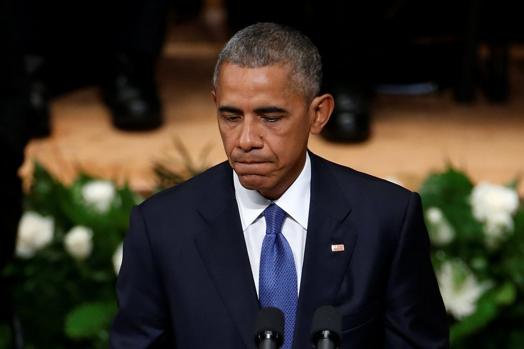 President Barack Obama speaks during a memorial service in Dallas, Texas, on Tuesday. (Reuters/Carlo Allegri)
