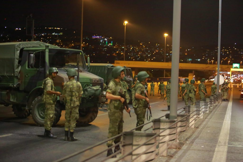 Turkish military block access to the Bosphorus bridge, which links the city's European and Asian sides, in Istanbul, Turkey. (Stringer/Reuters)