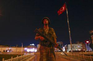 A Turkish military stands guard near the Taksim Square in Istanbul, Turkey. (Murad Sezer/Reuters)