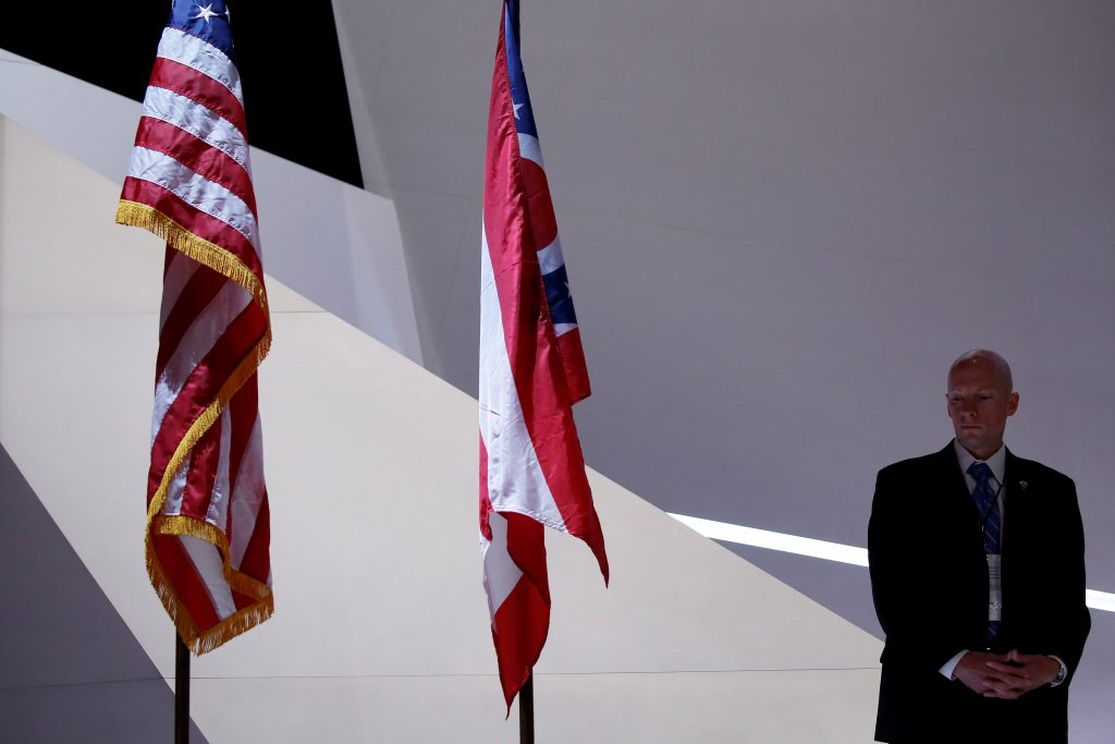 A Secret Service agent keeps watch on stage at the Republican Convention in Cleveland, (Carlo Allegri/Reuters)