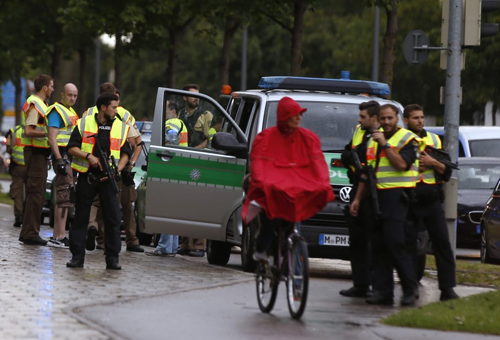 Police secure a street near to the scene of the shooting in Munich, Germany, on Friday. (Reuters/Michael Dalder)
