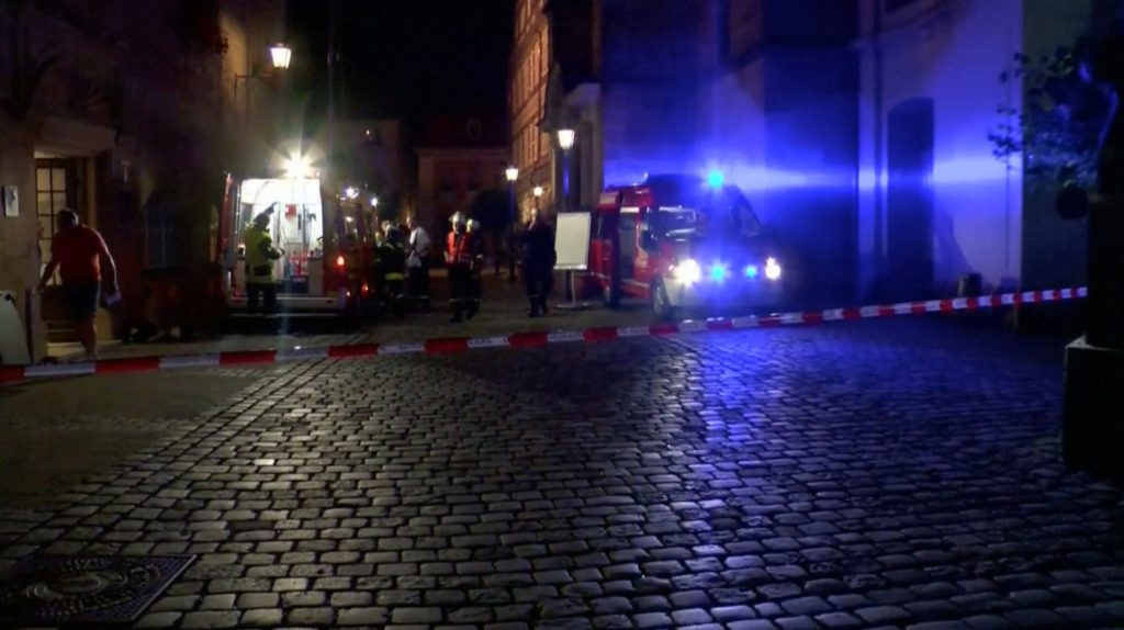 Emergency workers and vehicles are seen following an explosion in Ansbach, near Nuremberg July 25. In this still image taken from video. (Courtesy News5/via Reuters)