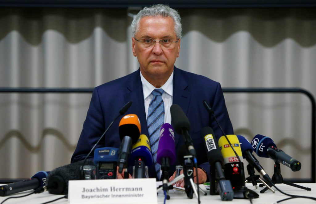 Bavarian Interior Minister Joachim Herrmann addresses a news conference after an explosion in Ansbach, near Nuremberg, Germany. (Michaela Rehle/Reuters)