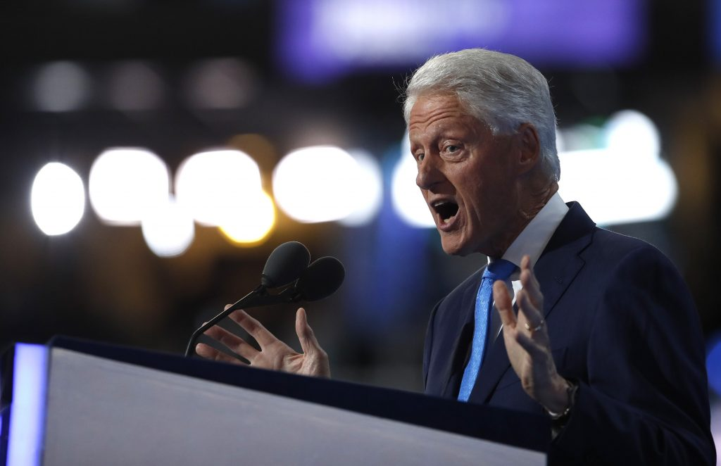 Former U.S. President Bill Clinton speaks during the second night at the Democratic National Convention in Philadelphia, Pennsylvania. (Jim Young/Reuters)