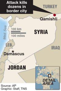 Locator map of Qamishli, Syria.