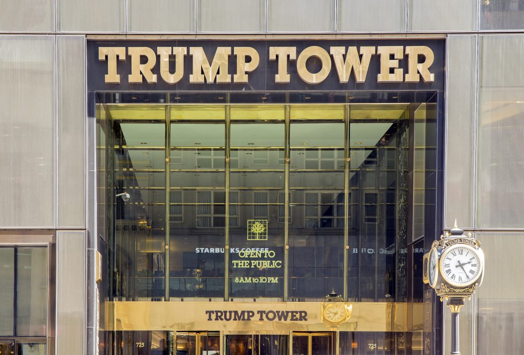 NEW YORK CITY - APRIL 19: Trump Tower is a 68-story mixed-use skyscraper located at 725 Fifth Avenue, at the corner of East 56th Street in Midtown Manhattan, New York City, as seen on April 19, 2015