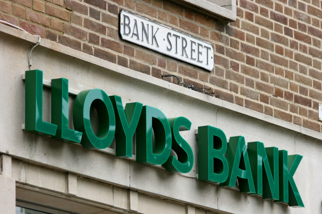42698013 - lloyds bank sign of branch in bank street, braintree, essex, england