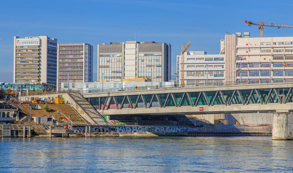 Novartis headquarters on the Rhine River in Basel, Switzerland.