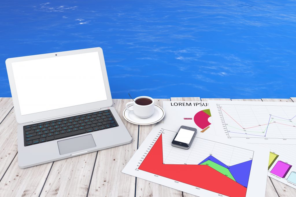 Modern Laptop with Cup of Coffee and Business Graph in front of Ocean extreme closeup. 3d Rendering