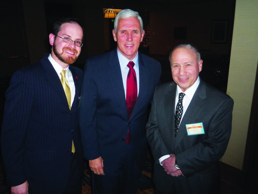 Rabbi A.D. Motzen, Governor Michael Pence, and Mr. Mike Lerman from South Bend, Indiana.